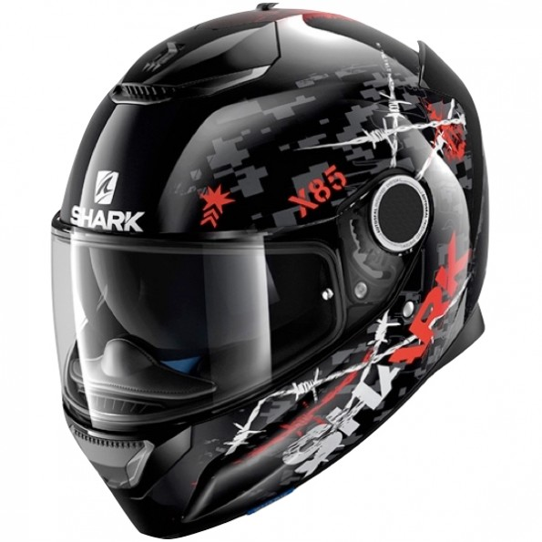Casque de moto Spartan Rughed de chez Shark en Black Anthracite Red KAR - Vue de profil
