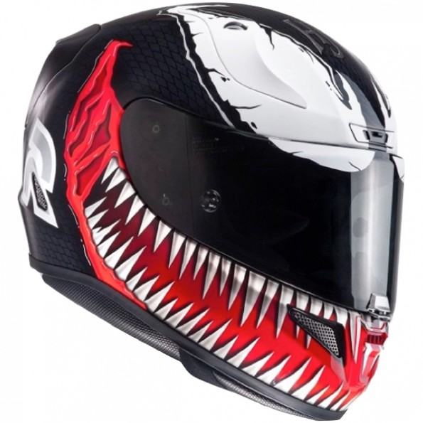 Casque de moto RPHA11 Marvel Venom de chez HJC en MC1 Black White Red - Vue de profil