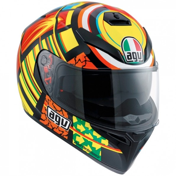 Casque intégral de moto K-3 SV Elements de chez AGV en Yellow Orange - Vue de profil