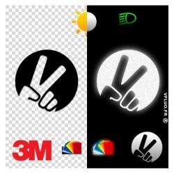 Stickers Réfléchissant Noir V motard